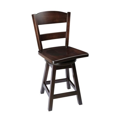 Swivel Bar Stool with Classic Back in Maple Wood