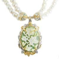Michael Valitutti Palladium Silver Aventurine, Green Apatite & Pearl Necklace