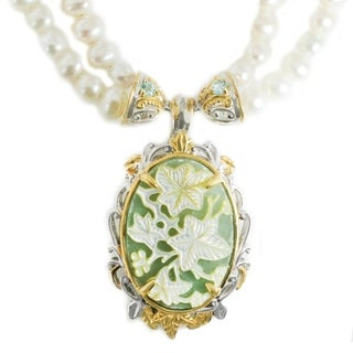 Michael Valitutti Palladium Silver Aventurine, Green Apatite & Pearl Necklace