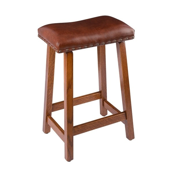 Shop Bar Stool In Quarter Sawn Oak With Leather Seat Free Shipping