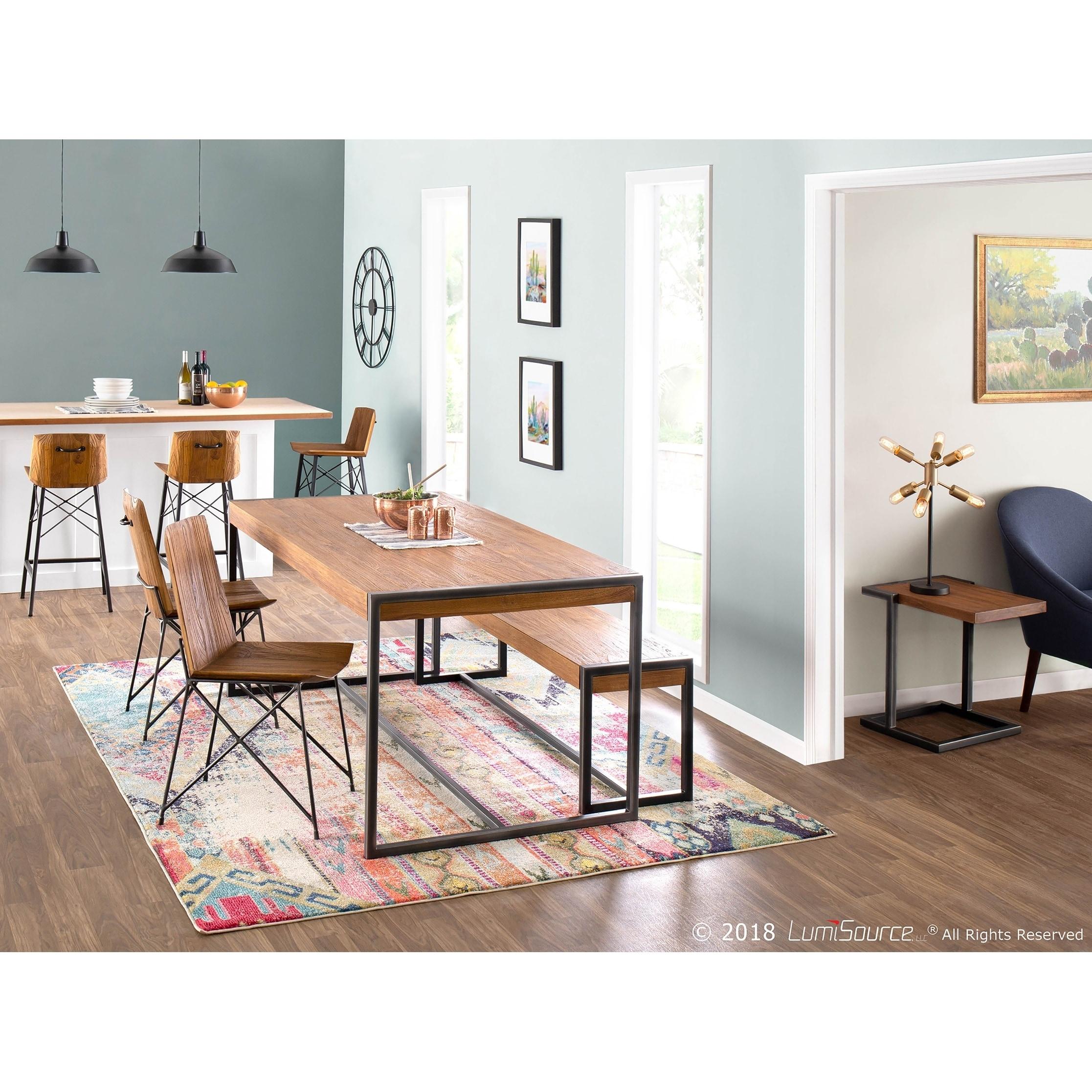 Java Industrial Dining Table in Metal and Teak Wood - Brown