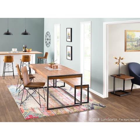 Java Industrial Dining Table in Metal and Teak Wood