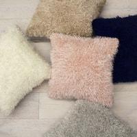 Laura Ashley Plush Shag 18 in. x 18 in. Decorative Pillow