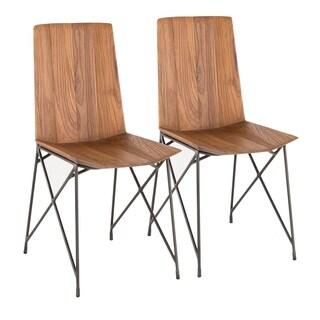 Java Industrial Metal and Teak Wood Chair (Set of 2)