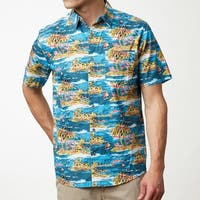 Island Print Men's Short Sleeve Shirt