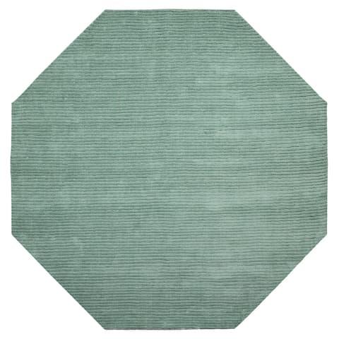 Aqua Pulse (8'x8') Wool Octagon Rug - 8' x 8'