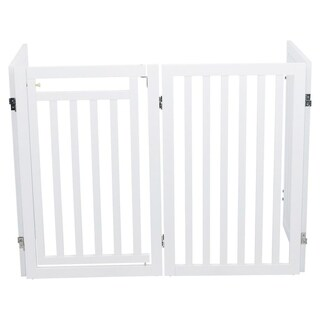 Wooden 4-Panel Configurable Pet Gate (white) - WHITE
