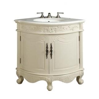 """24"""" Benton Collection Bayview Antique White Corner Bathroom Vanity"""