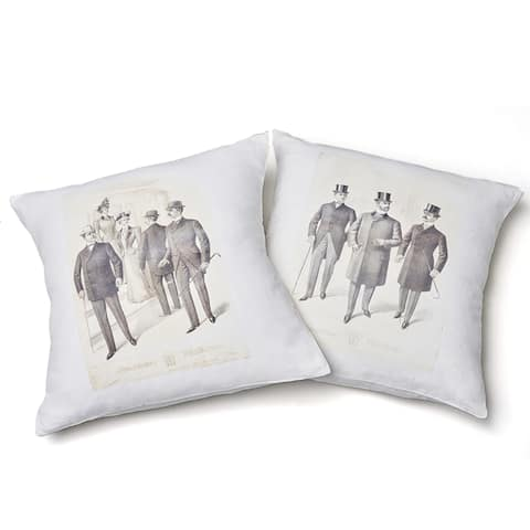 Cottage Home Dapper Gentelman's Cotton 24 Inch Throw Pillow Set of 2