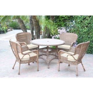 5pc Windsor Honey Wicker Dining Set with Wood Top and Cushion