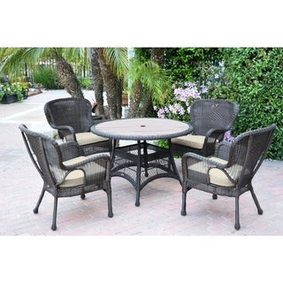 5pc Windsor Espresso Wicker Dining Set with Wood Top and Ivory Cushion
