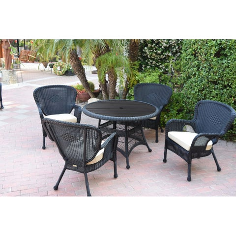 5pc Windsor Black Wicker Dining Set with Wood Top and Ivory Cushion