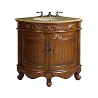 "24"" Benton Collection Bayview Colonial Brown Corner Bathroom Vanity"