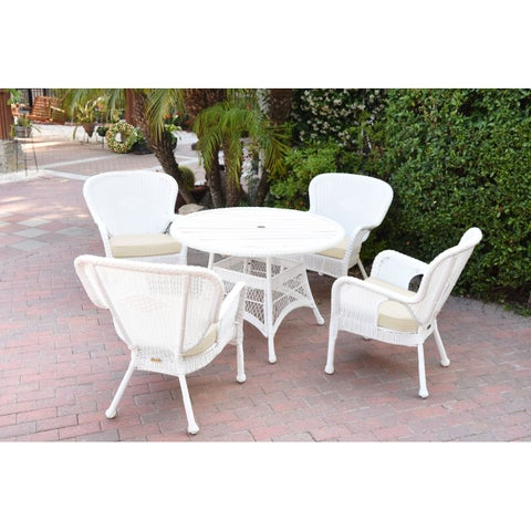 5pc Windsor White Wicker Dining Set with Wood Top and Cushion