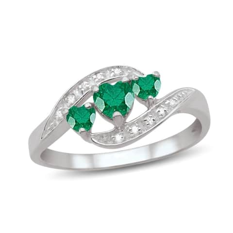Sterling Silver Genuine Birthstone Ring with Diamond Accents