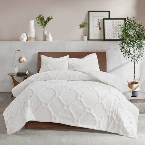 Madison Park Nollie White 3 Piece Tufted Cotton Chenille Geometric Comforter Set