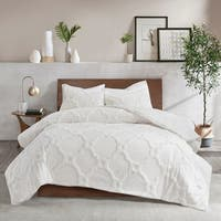 Madison Park Nollie White Cotton Chenille Geometric Comforter Set