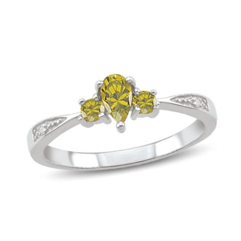 10K White Gold Genuine Birthstone Ring with Diamond Accents