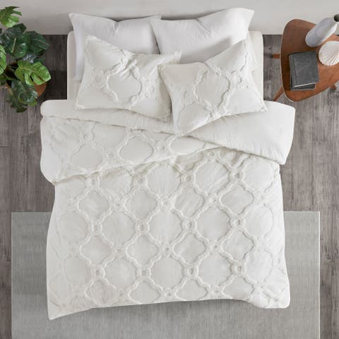 Madison Park Nollie White 3 Piece Tufted Cotton Chenille Geometric Duvet Cover Set