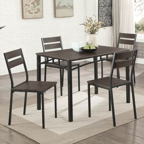 Furniture Of America Patton 5 Piece Rustic Modern Farmhouse Dining Table Set
