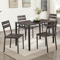 Furniture of America Patton 5-Piece Rustic Modern Farmhouse Dining Table Set