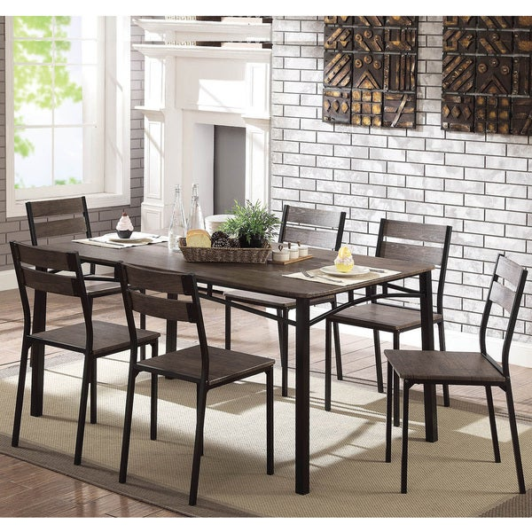 Bon Furniture Of America Patton 7 Piece Rustic Modern Farmhouse Dining Table Set