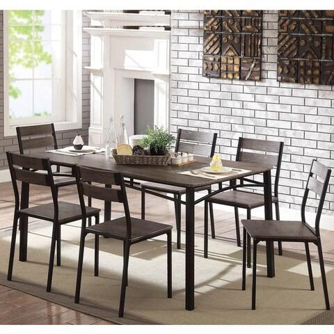 Furniture of America Patton 7-Piece Rustic Modern Farmhouse Dining Table Set