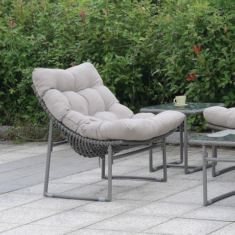 Furniture of America Anya Contemporary Grey Metal Patio Chair