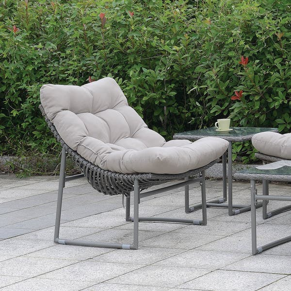 Furniture Of America Anya Contemporary Grey Metal Patio Chair On Sale Overstock 22671349