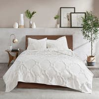 Madison Park Nollie White 3 Piece Tufted Cotton Chenille Geometric Coverlet Set