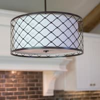 Tucker Metal Overlay Drum Shade Pendant