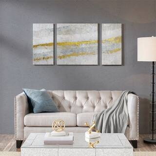 Madison Park Desert Waves Neutral Printed Canvas with Gel Coat and Gold Foil 3 Piece Set