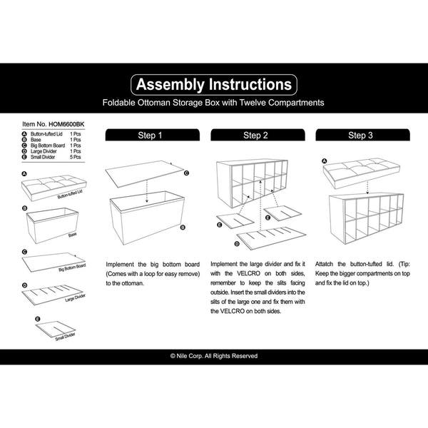 Tremendous Shop Ikee Design Folding Storage Bench With 12 Slots Free Camellatalisay Diy Chair Ideas Camellatalisaycom