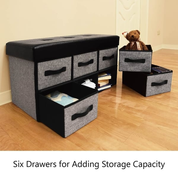 Surprising Shop Ikee Design Folding Storage Bench With 6 Drawer Free Machost Co Dining Chair Design Ideas Machostcouk