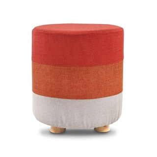 Ikee Design Wooden Round Upholstered Footstool Footrest with Polyester Cover