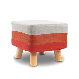 Ikee Design Wooden Square Upholstered Footstool with Polyester Cover