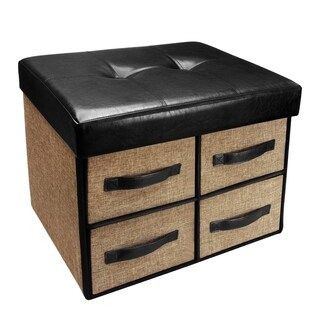 Ikee Design Folding Storage Bench with 4 Drawer