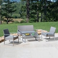 Corvus Alsace 4-piece Grey Wicker Patio Seating Set with Glass Top