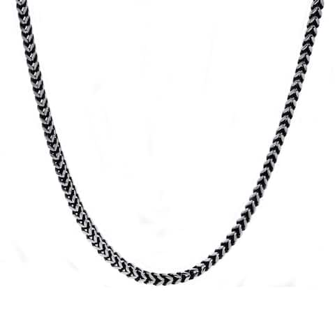 Divina Polished black/steel Stainless Steel franco chain 24 Inch.