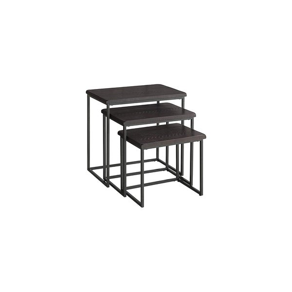 3 Piece Pine wood and Metal Nesting Table, Espresso Brown
