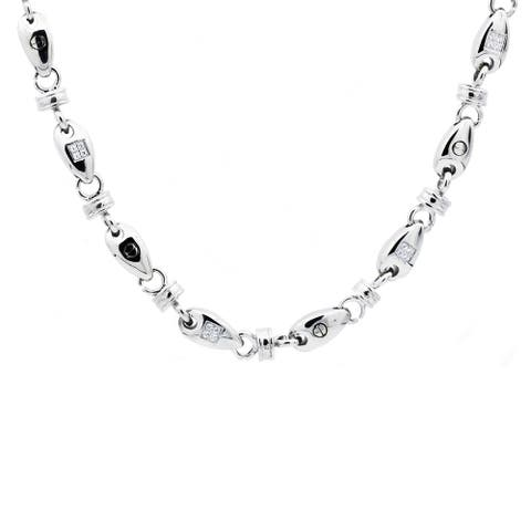 Divina Stainless Steel With Cubic Zirconia Chain Link Men's Necklace