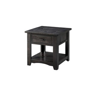 Wooden End Table With Drawer & Shelf, Antique Black