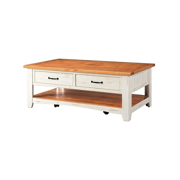 White Reclaimed Wood Coffee Table With Drawers: Shop Dual Tone Wooden Coffee Table With Two Drawers