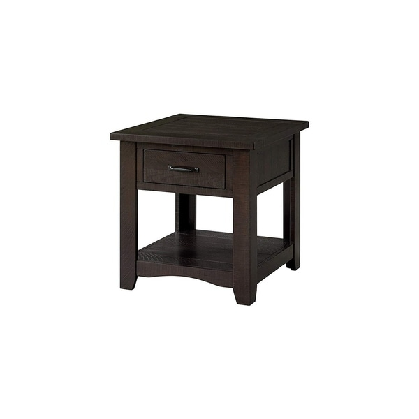Wooden End Table With 1 Drawer & 1 Shelf, Espresso Brown