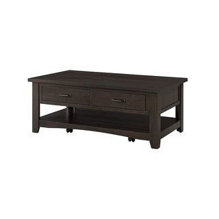 Wooden Coffee Table With Two Drawers, Espresso Brown