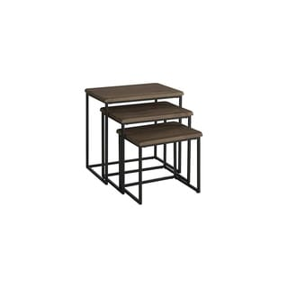 3 Piece Pine wood and Metal Nesting Table, Brown