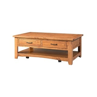Wooden Coffee Table With Two Drawers, Honey Tobacco Brown