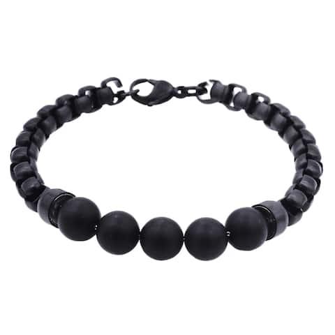 Divina Genuine Onyx Black Plated Stainless Steel Men's Bracelet 8.5 Inch