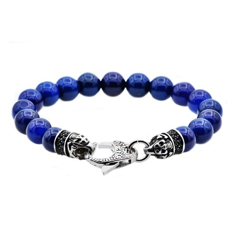 Divina Genuine Blue Onyx Stainless Steel Beaded Men's Bracelet 8.5 Inch