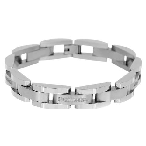 Divina Brushed and polished Stainless Steel semi circle link cz stripe Bracelet 8.75 Inch.